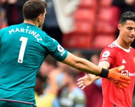 """Dibu"" Martínez volvió a lucirse y el Aston Villa le ganó al Manchester de CR7"