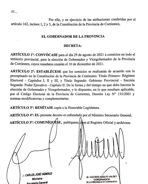 decreto elecciones a gobernador