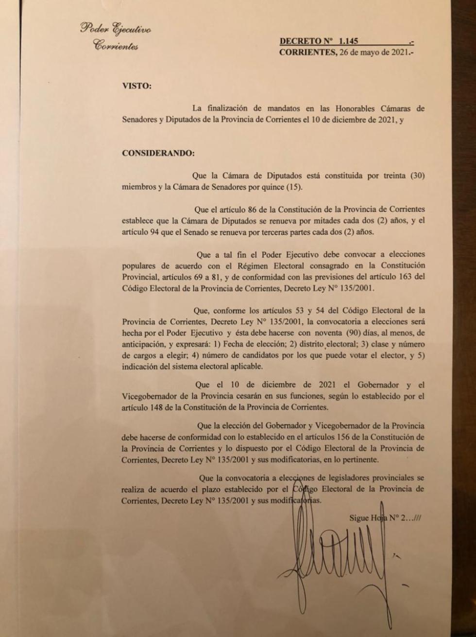 Decreto elecciones 1